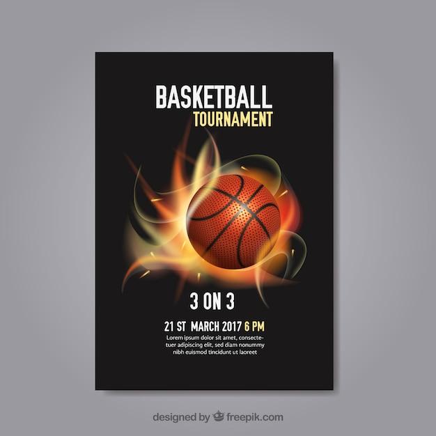 Abstract basketbaltoernooi poster Gratis Vector