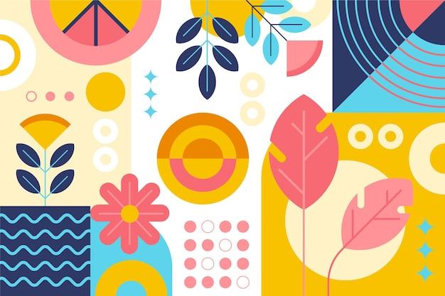 Abstract behang met vormen en planten Gratis Vector