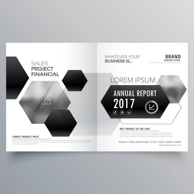 Abstract bifold tijdschrift pagina design met zwarte zeshoekige vormen Gratis Vector