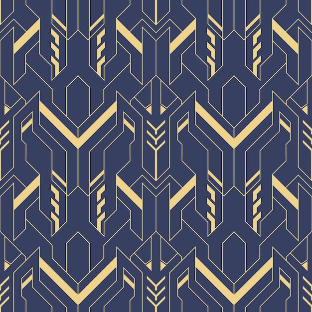 Abstract blauw art deco naadloos patroon Premium Vector