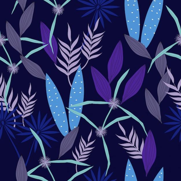 Abstract blauw bloemen naadloos oppervlaktepatroon Premium Vector