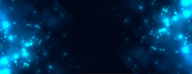 Abstract blauw bokehlicht schittert banner Gratis Vector
