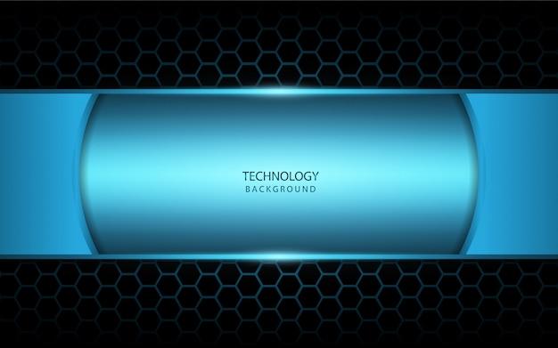 Abstract blauw licht op zeshoekige achtergrond Premium Vector