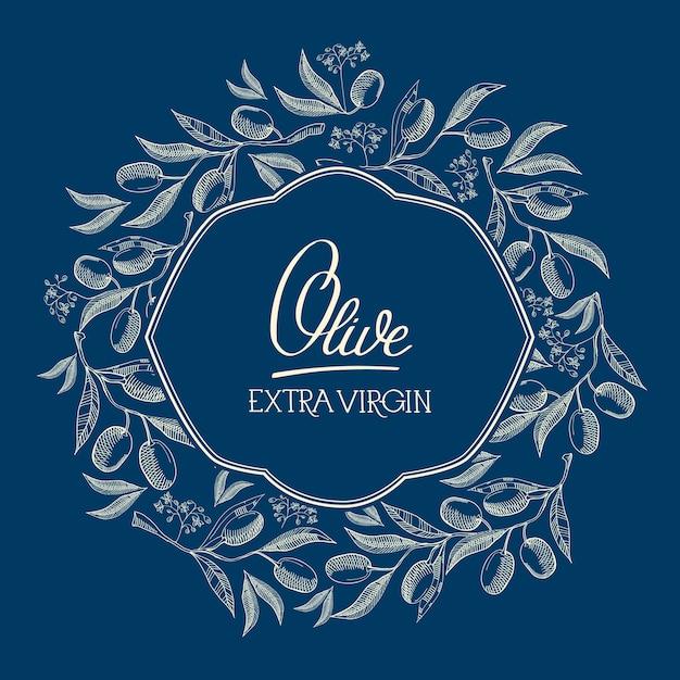 Abstract blauw natuurlijk label Gratis Vector