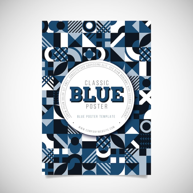 Abstract blauw poster sjabloon Gratis Vector