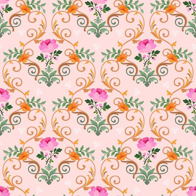 Abstract bloemen naadloos patroon Premium Vector