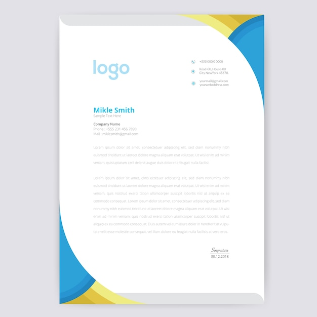 Abstract briefpapier template Premium Vector