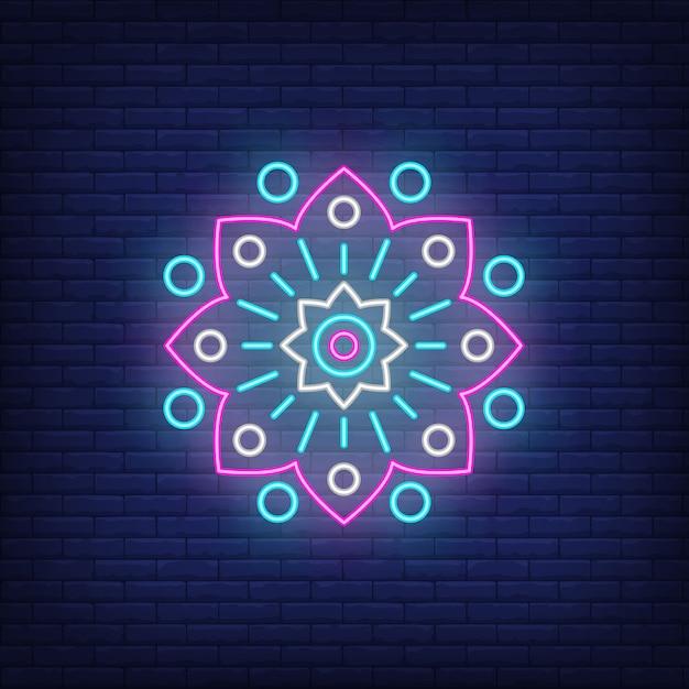 Abstract circulaire floral embleem neon teken Gratis Vector