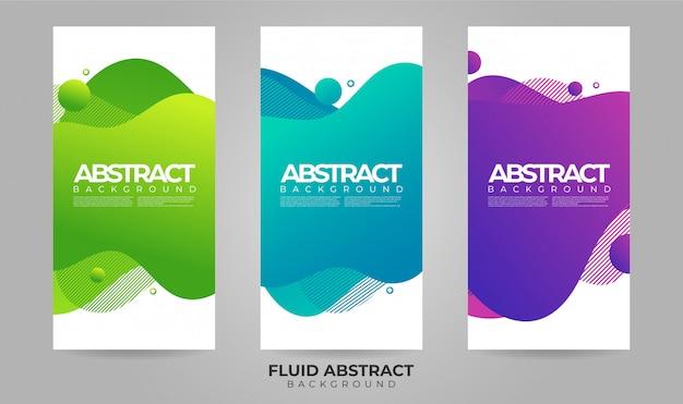 Abstract de bannermalplaatje van de golven vloeibaar vloeibaar gradiëntverkoop Premium Vector