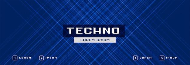 Abstract de bannerontwerp van technologie blauw gloeiend lijnen Gratis Vector