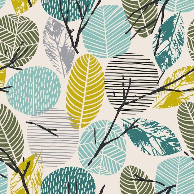 Abstract de herfst naadloos patroon met bladeren Premium Vector
