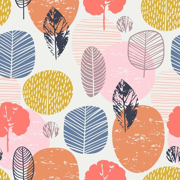 Abstract de herfst naadloos patroon met bladeren. Premium Vector