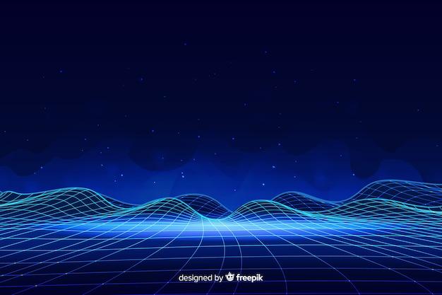 Abstract digitaal landschap met deeltjesachtergrond Gratis Vector