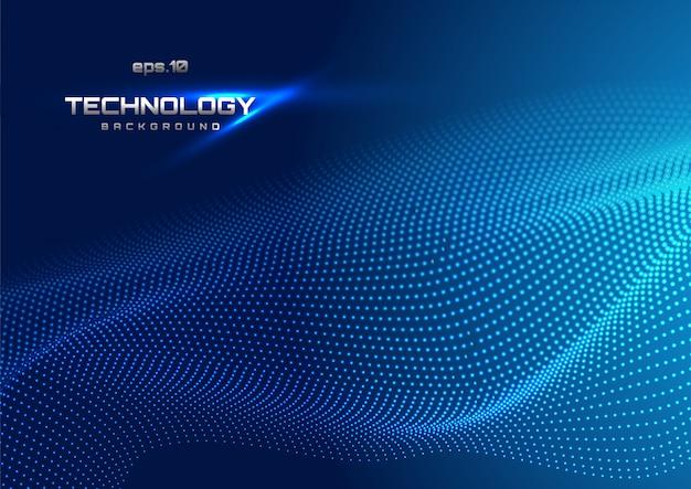 Abstract digitaal landschap met stromende deeltjes Premium Vector