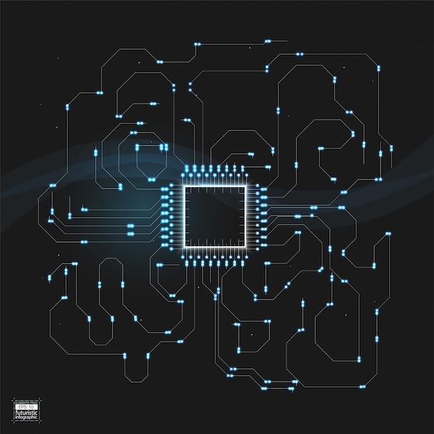 Abstract digitaal van het technologiebesturingssysteem vectorontwerp als achtergrond Premium Vector
