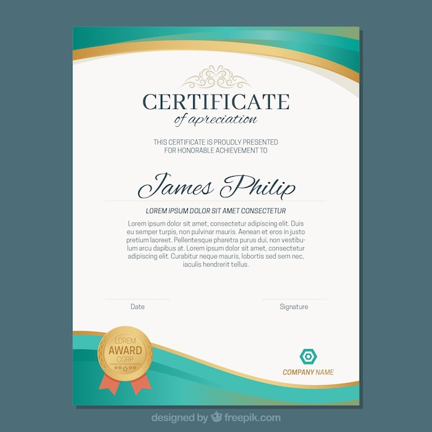 Abstract diploma template Gratis Vector