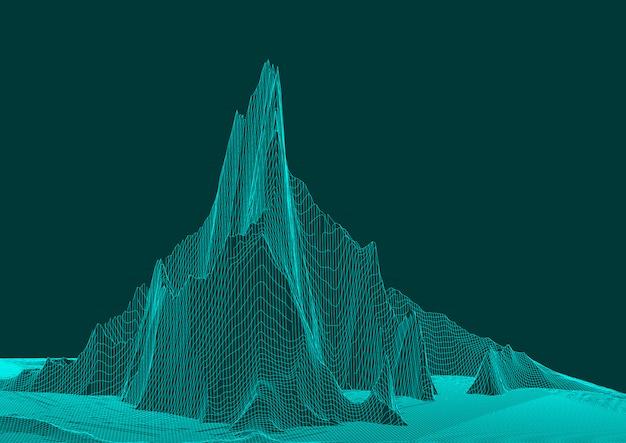 Abstract draadframe landschapsontwerp Gratis Vector