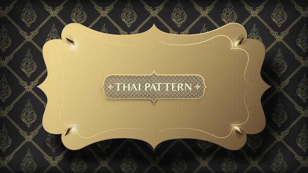 Abstract drijvend gouden frame op traditioneel gouden thais patroon op donkere achtergrond Premium Vector