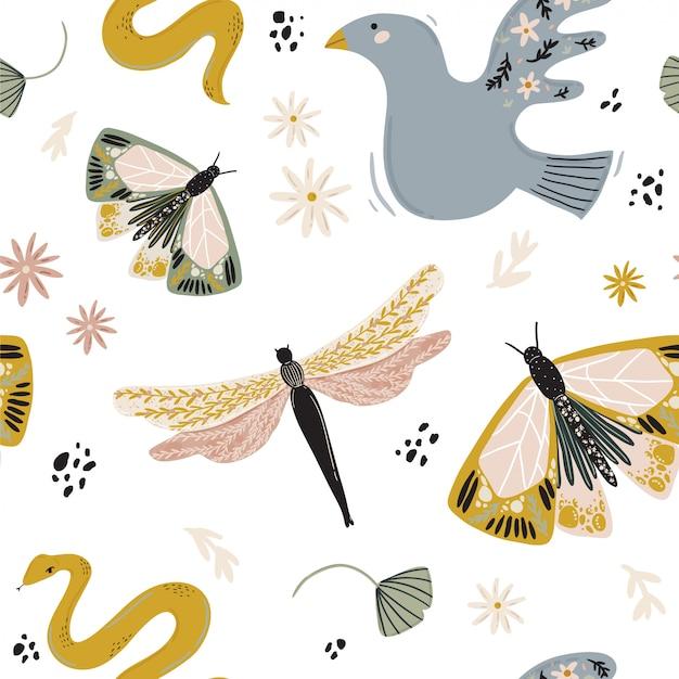 Abstract eigentijds naadloos patroon met bloemen, fauna, maan, meisjesmachtselementen. trendy minimalistische illustratie in scandinavische stijl, boheemse heks, magisch mysterieconcept. Premium Vector