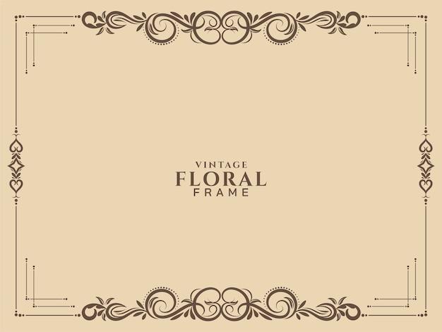 Abstract floral frame vintage achtergrond vector Gratis Vector