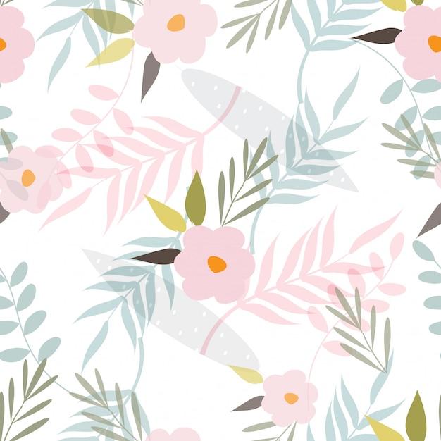 Abstract floral oppervlaktepatroon naadloze achtergrond Premium Vector