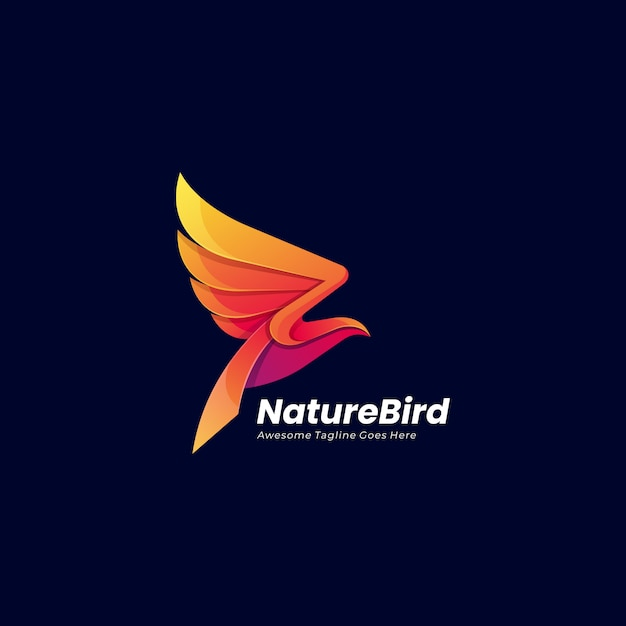 Abstract flying bird-logo Premium Vector