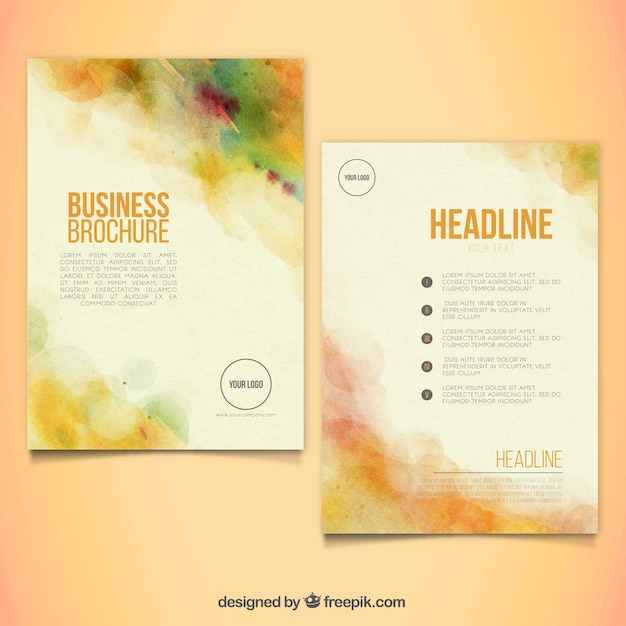 Abstract folder template in aquarel stijl Gratis Vector