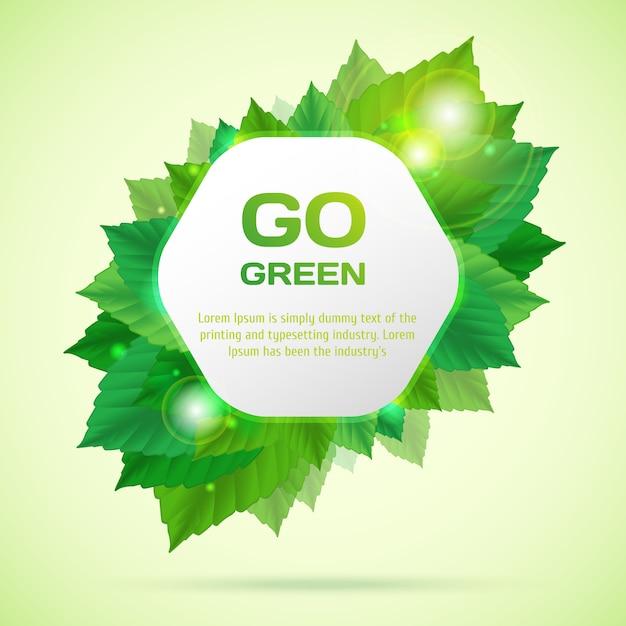 Abstract ga groen vector illustratie met bladeren Premium Vector