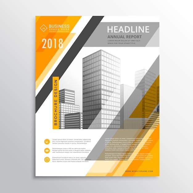 abstract geel en wit zakelijke flyer design template voor uw merk Gratis Vector