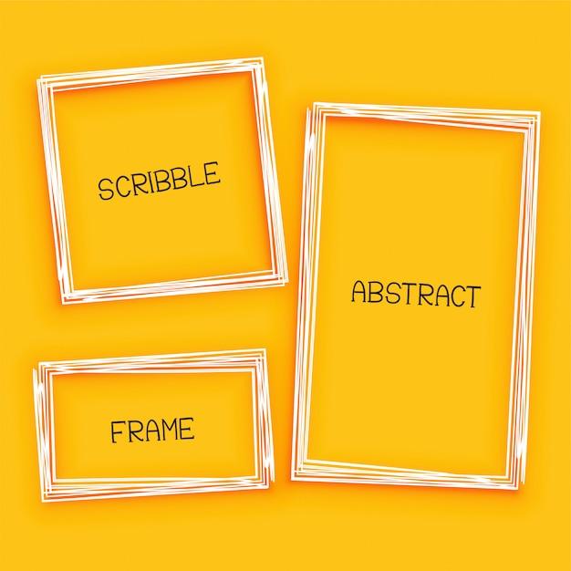 Abstract gekrabbel frame op gele achtergrond Gratis Vector