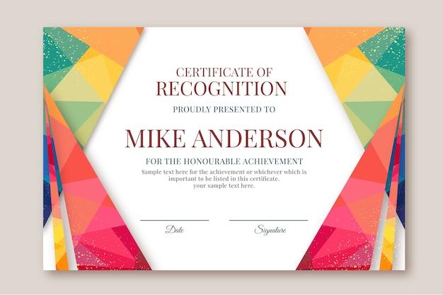 Abstract geometrisch certificaatsjabloon met kleurrijke vormen Gratis Vector