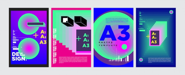Abstract geometrisch collage posterontwerp in levendige kleuren Premium Vector