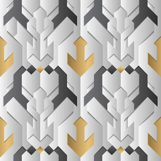 Abstract geometrisch decor strepen wit en gouden element Premium Vector