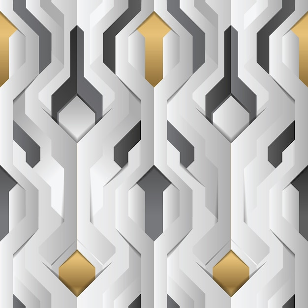 Abstract geometrisch decor strepen wit en gouden element Premium Vector