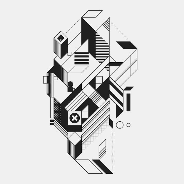 Abstract geometrisch element in futuristische stijl die op witte achtergrond wordt geïsoleerd. handig voor afdrukken en posters. Premium Vector