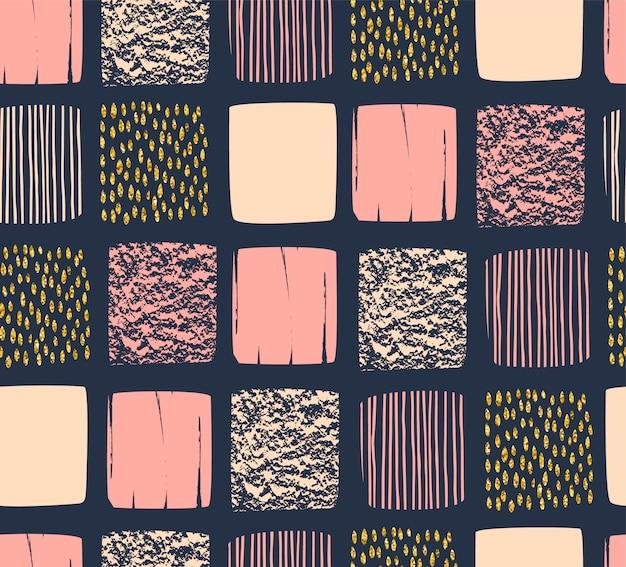 Abstract geometrisch naadloos patroon dat met vierkanten wordt geplaatst. Premium Vector