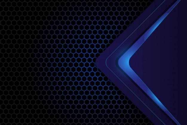 Abstract geometrisch ontwerp op donkerblauwe zeshoek achtergrond Premium Vector