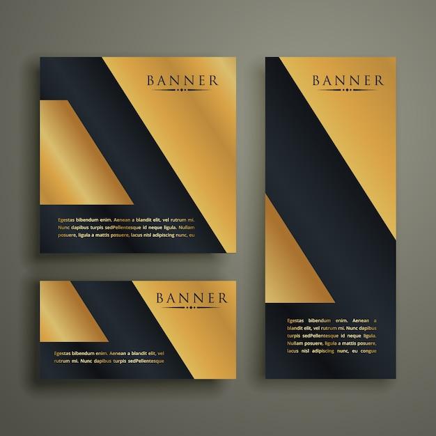 Abstract geometrisch premium gouden bannerontwerp Gratis Vector