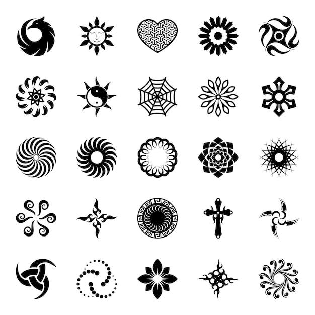 Abstract geometrisch symbolen glyph-pakket Premium Vector
