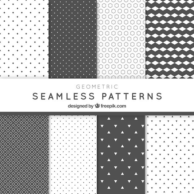 Abstract geometrische patronen grijs pak Gratis Vector