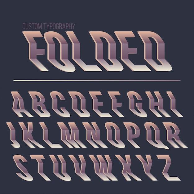 Abstract gevouwen typografie lettertype ontwerp Premium Vector
