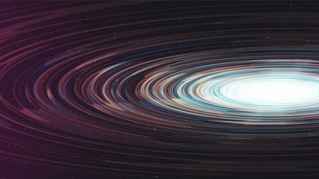 Abstract glanzend spiraalvormig zwart gat op galaxy-achtergrond. conceptontwerp van planeet en natuurkunde. Premium Vector