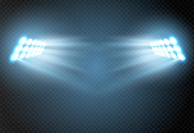 Abstract gloeiend licht van schijnwerper. Premium Vector