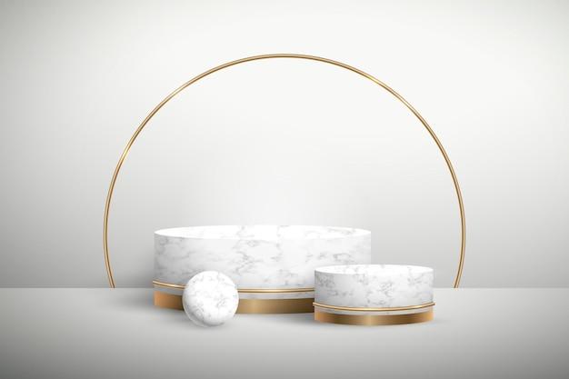 Abstract gouden geometrisch podium met vormen Gratis Vector
