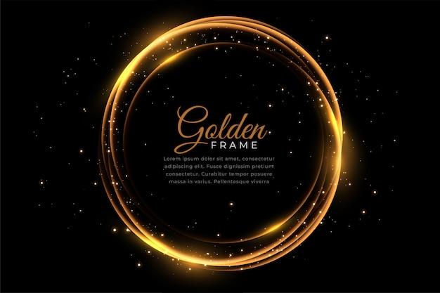 Abstract gouden glanzend frame met glitters Gratis Vector