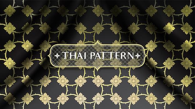 Abstract gouden traditioneel thais patroon, verbindende bloemen, op golvende vlotte de stoffenachtergrond van de kromme zwarte zijde Premium Vector