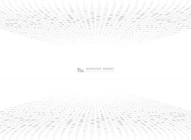 Abstract grijs het patroonontwerp van de puntcirkel van technologie op witte achtergrond Premium Vector
