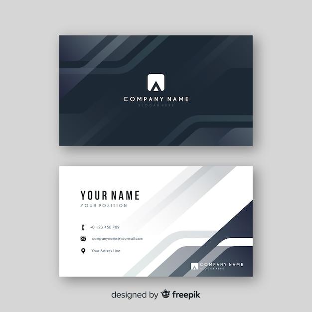Abstract grijs visitekaartje met logo Gratis Vector