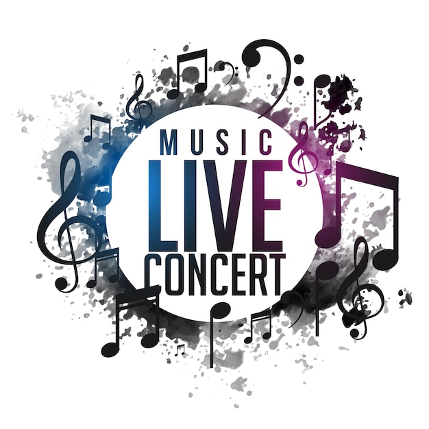 Abstract grunge muziek live concert poster ontwerp Gratis Vector