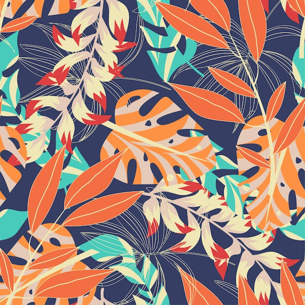 Abstract helder naadloos patroon met kleurrijke tropische bladeren en installaties op donkerblauwe achtergrond Premium Vector